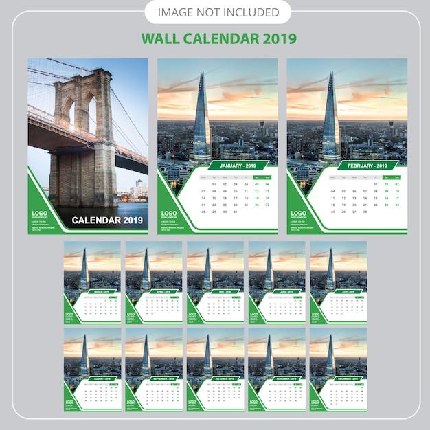 Templat perencana kalender dinding 2019 Vektor Premium