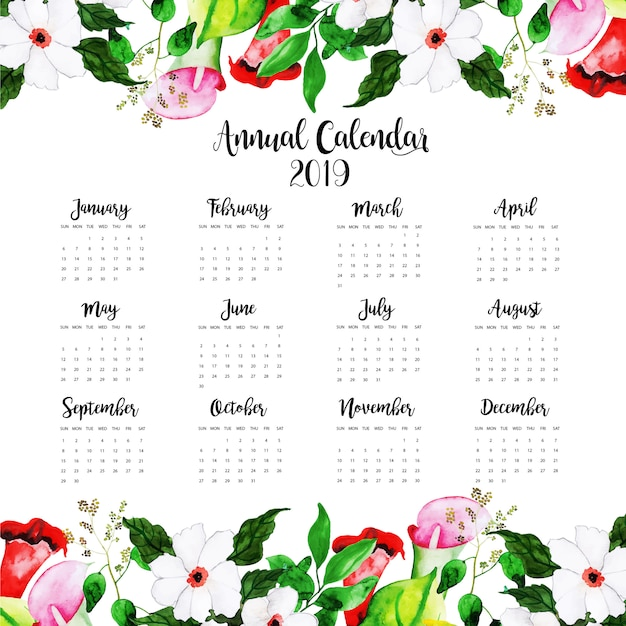 2019 watercolor floral annual calendar premium vector
