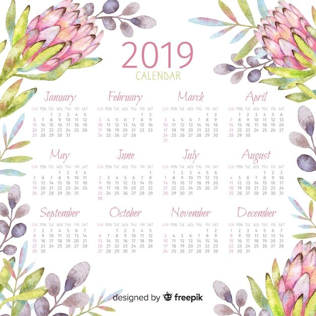 2019 watercolor floral calendar Free Vector