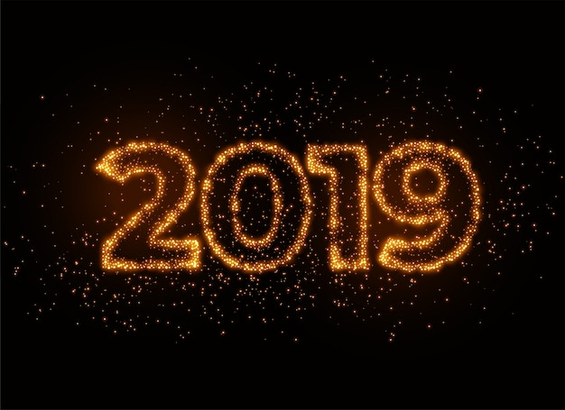 2019 writter in shiny sparkles particle effect Free Vector