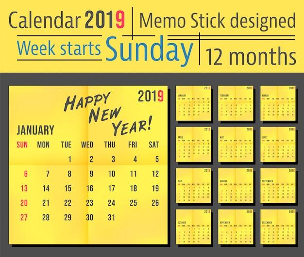 2019 year calendar template, yellow memo stick design. week start sunday Premium Vector