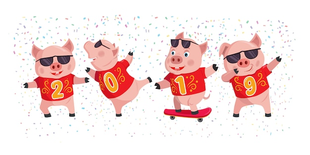 2019 year of the pig Premium Vector