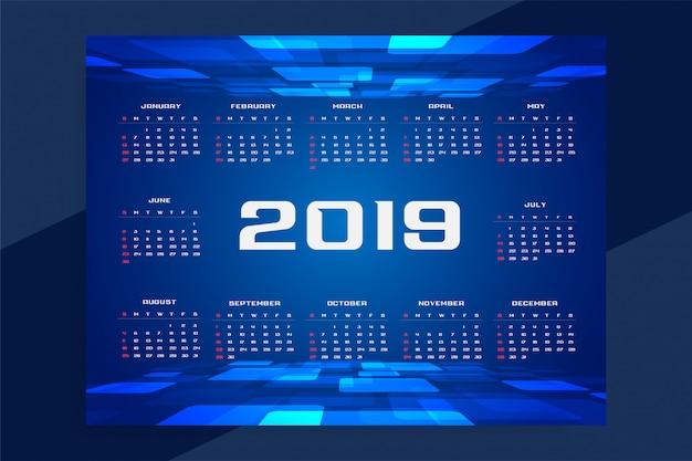 2019カレンダーの技術コンセプトデザイン 無料ベクター
