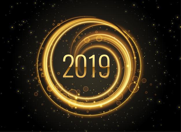 新しい年2019ライト効果の背景 無料ベクター