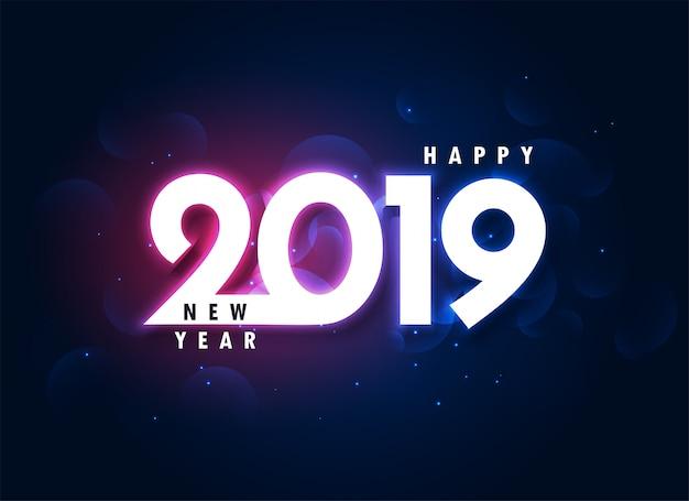 2019 красочный с новым годом светящийся фон Бесплатные векторы