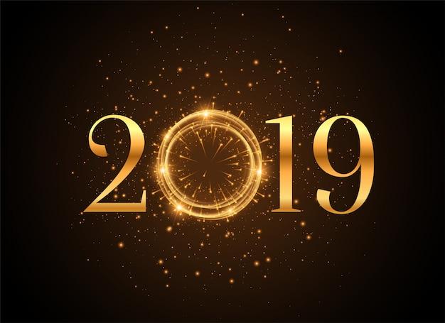 2019年新年輝く黄金の輝きの背景 無料ベクター