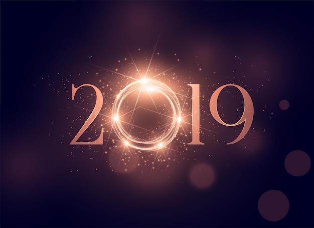 Красивый светящийся 2019 блестящий фон Бесплатные векторы