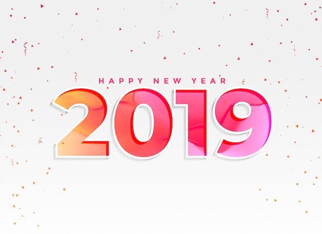 Красивый 2019 новый год фон с конфетти Бесплатные векторы