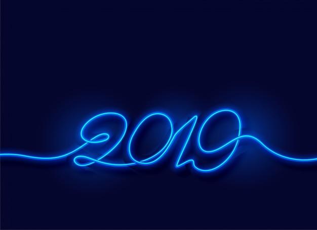 2019幸せな新年ネオン青い光の背景 無料ベクター