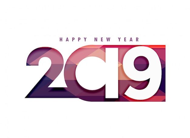 2019幸せな新年のクリエイティブなテキスト(ペーパーカットスタイル) 無料ベクター