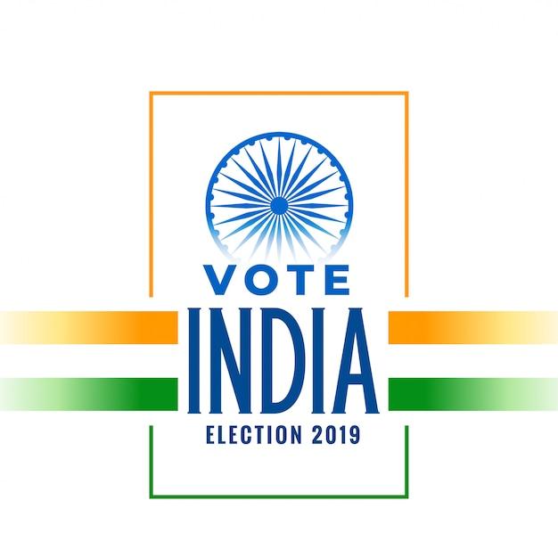 Выборы 2019 баннер с трехцветным индийским флагом Бесплатные векторы