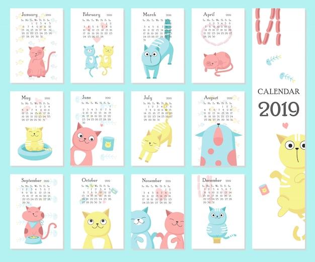 Календарь 2019 с милыми кошками Premium векторы