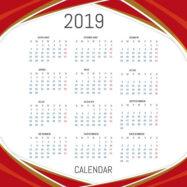 Календарь для 2019 Бесплатные векторы