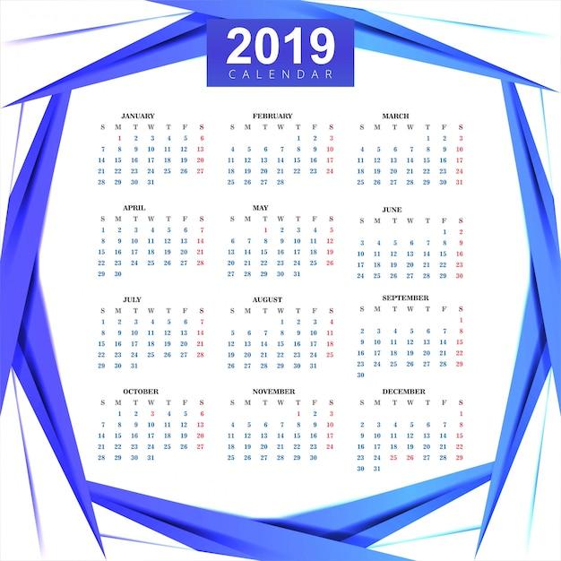 Календарь 2019 шаблон с волновым фоном Бесплатные векторы