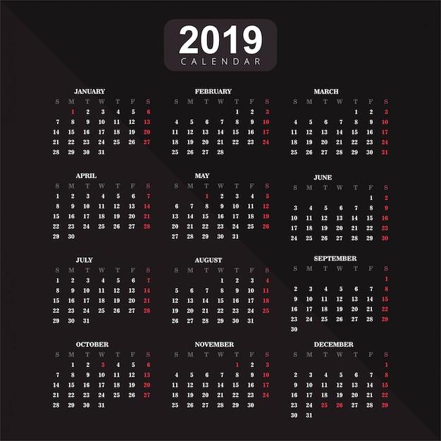 Год 2019, фон вектор календаря Бесплатные векторы
