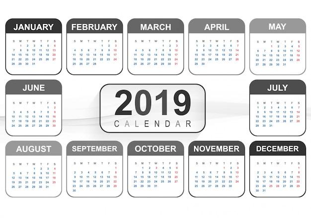2019年、カレンダークリエイティブデザイン 無料ベクター