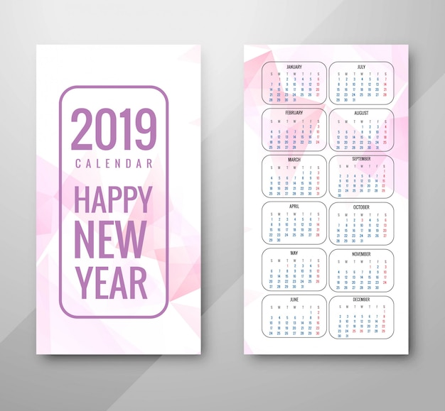 Год 2019, дизайн календаря Бесплатные векторы