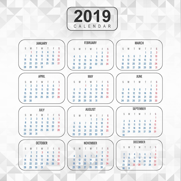 Год 2019, календарь красивый дизайн Бесплатные векторы