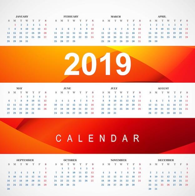 波のベクトルと現代2019赤いカレンダーのテンプレート 無料ベクター