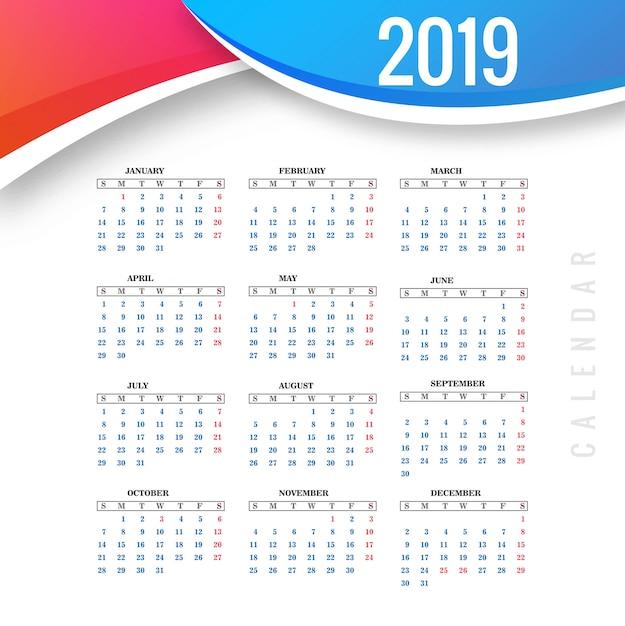 Абстрактный календарь красочный шаблон 2019 Premium векторы