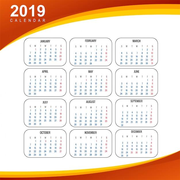 Календарь 2019 шаблон с волновым фоном Premium векторы