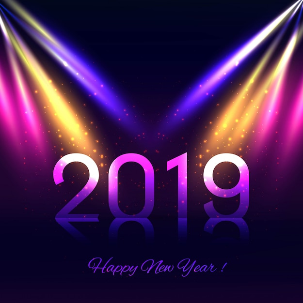 新年あけましておめでとうございますカード2019 無料ベクター