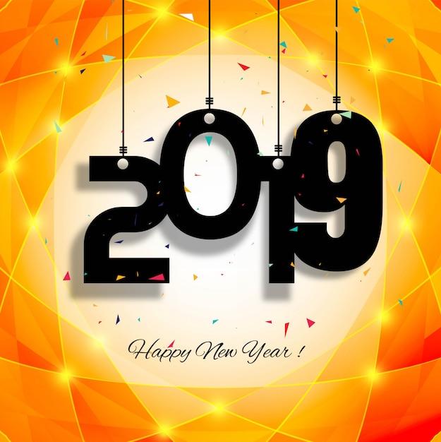 Красивый счастливый новый год 2019 текст фона Бесплатные векторы
