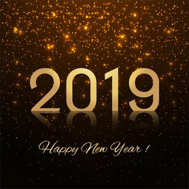 2019幸せな新年のテキストカラフルな光沢のある背景 無料ベクター