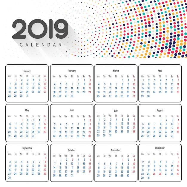 Красивый дизайн бизнес-календаря 2019 года Бесплатные векторы
