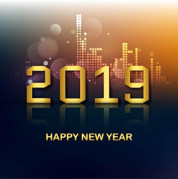 祝賀2019カラフルな幸せな新年の背景ベクトル 無料ベクター