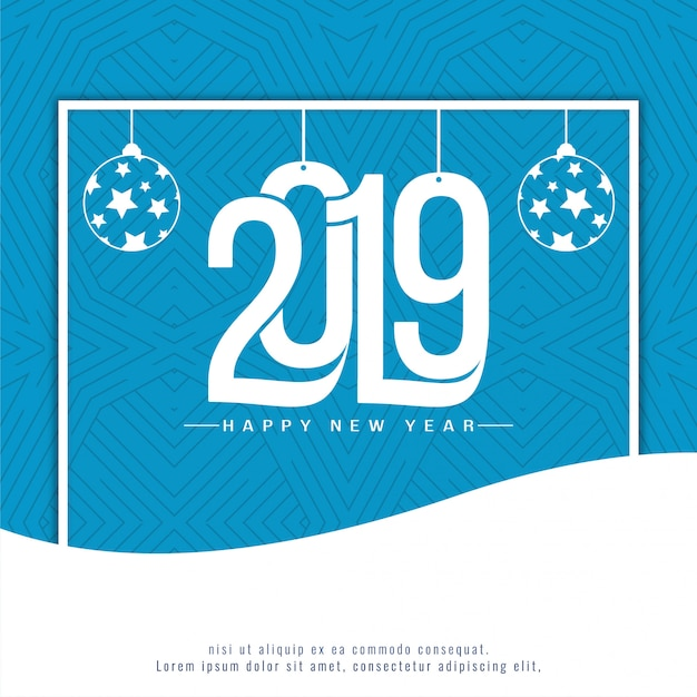 エレガントな新年2019装飾的な青色の背景 無料ベクター