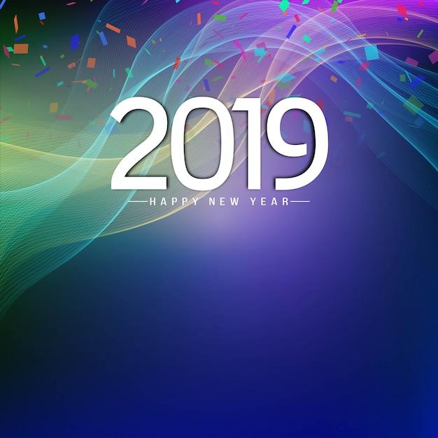 抽象的な波カラフルな新年2019背景のデザイン 無料ベクター