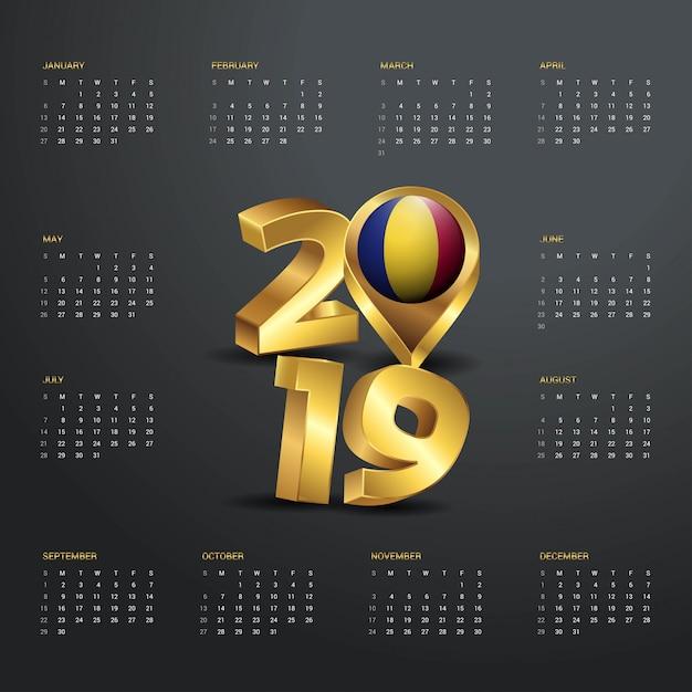 Шаблон календаря 2019 года. золотая типография Premium векторы