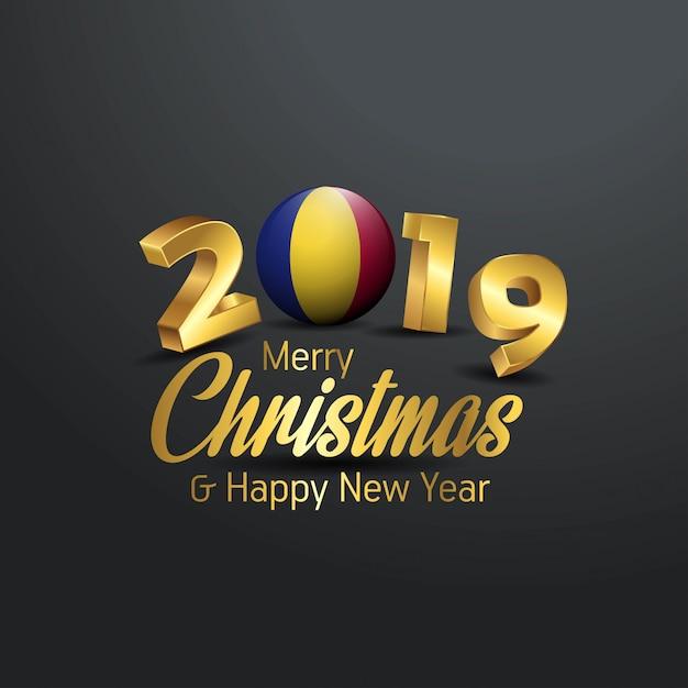Флаг румынии 2019 счастливого рождества типография Premium векторы