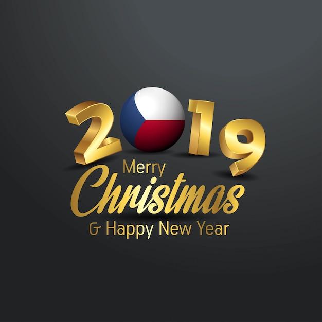 Флаг чехии 2019 счастливого рождества типография Premium векторы