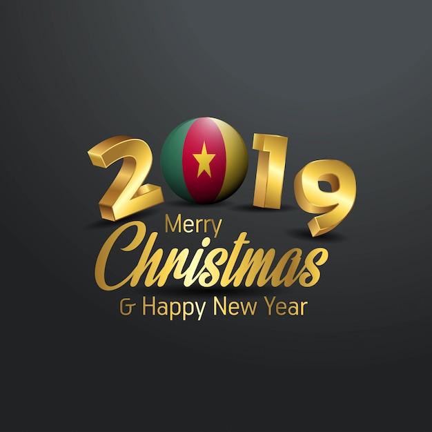 Камерун флаг 2019 счастливого рождества типография Premium векторы