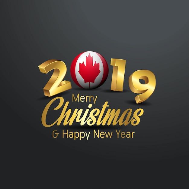 Флаг канады 2019 счастливого рождества типография Premium векторы