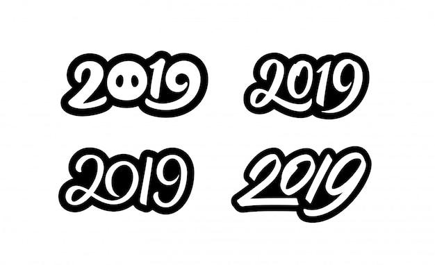 新年あけましておめでとうございます2019年ステッカーセット書道番号 Premiumベクター