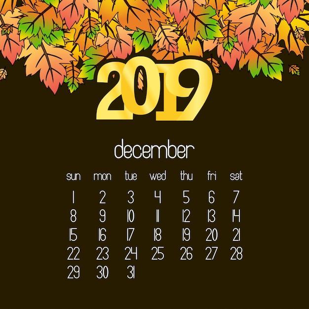 2019カレンダーデザインとドレークブラウン背景ベクトル 無料ベクター