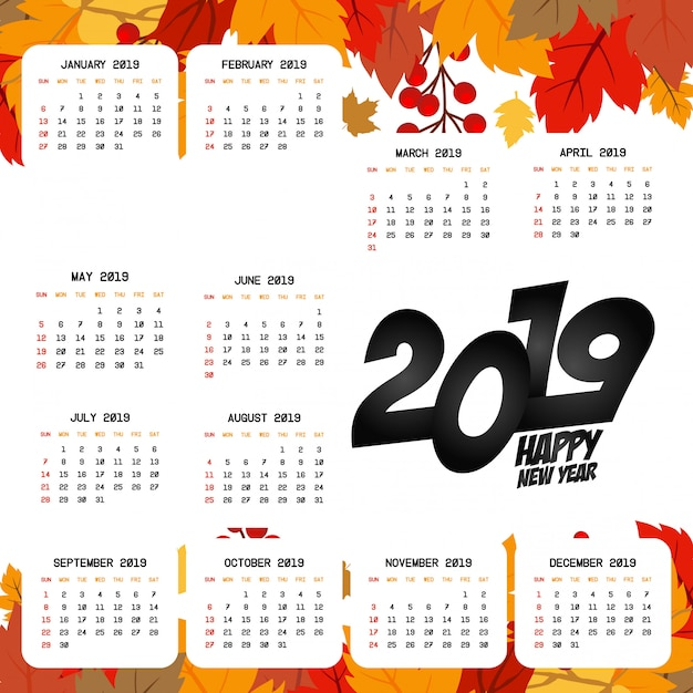 2019カレンダーデザイン、明るい背景ベクトル 無料ベクター