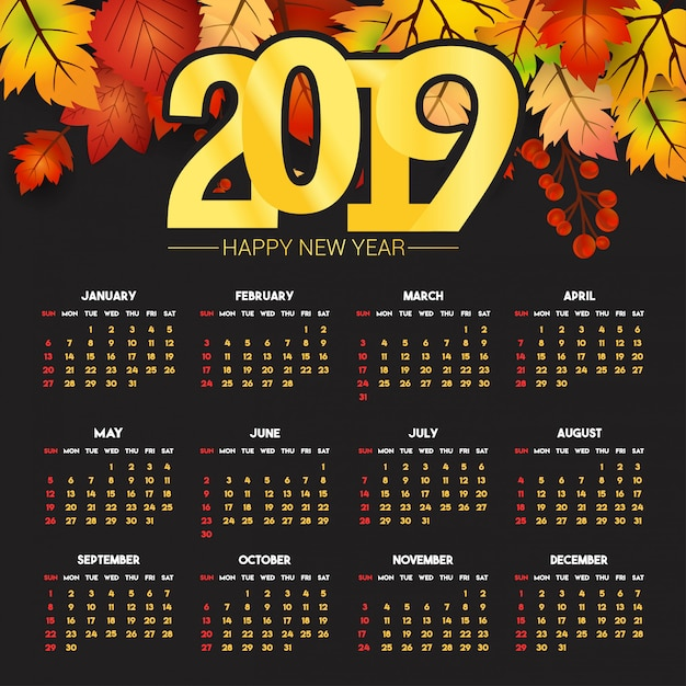 2019カレンダーデザイン、暗い背景ベクトル 無料ベクター