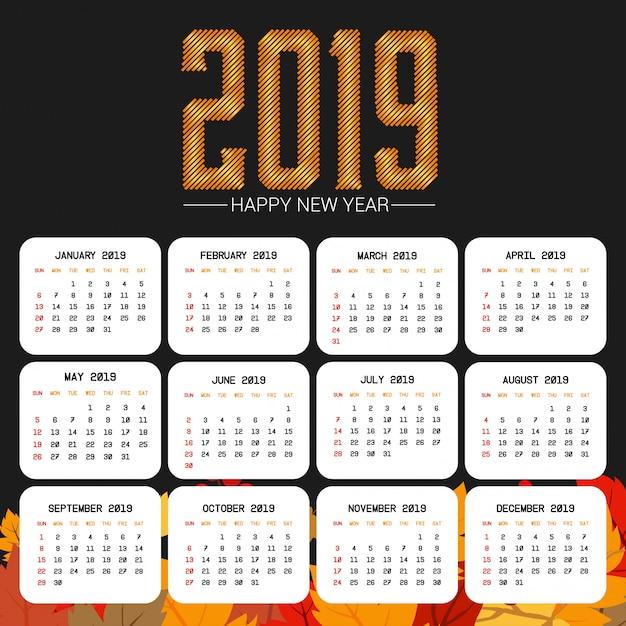 2019カレンダーデザイン、黒背景ベクトル 無料ベクター