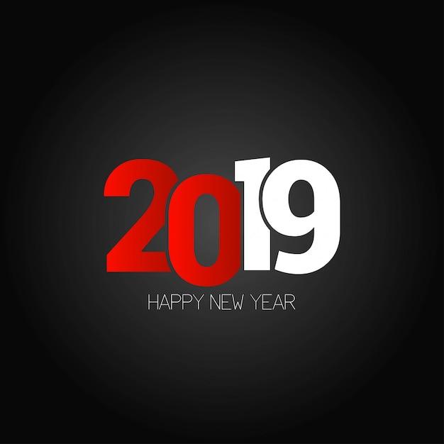 幸せな新年2019デザイン、暗い背景 無料ベクター