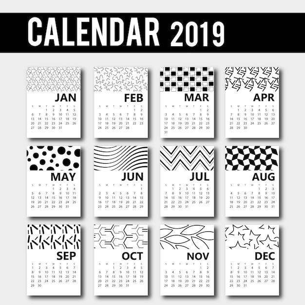 ベクトル2019カレンダーデザイン 無料ベクター