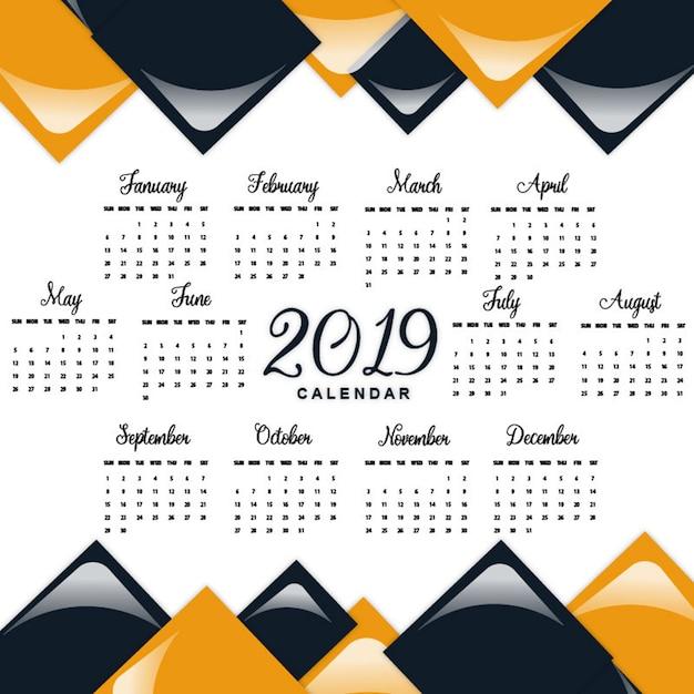 Календарь на вектор 2019 Premium векторы