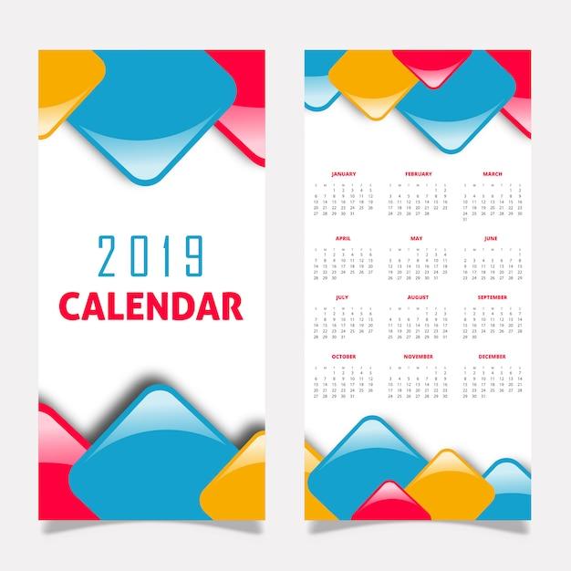 2019カレンダーデザイン 無料ベクター
