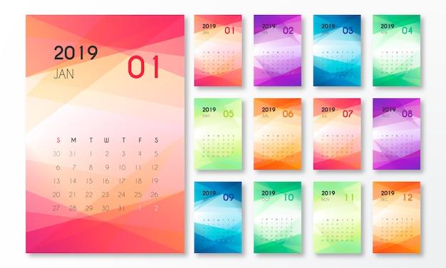 抽象図形を使用した2019年カレンダー 無料ベクター