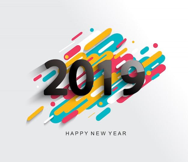 創造的な幸せな新年2019カード Premiumベクター