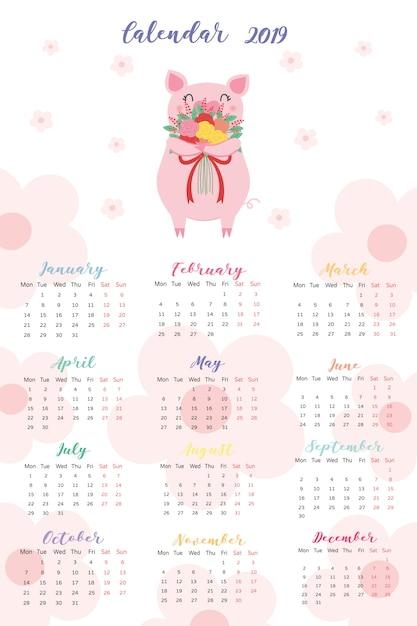 カレンダー2019。 Premiumベクター