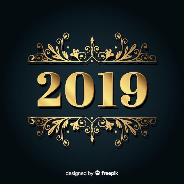新しい年2019の黄金の背景 無料ベクター